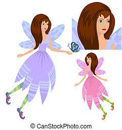 papillon, m�dchen, fee