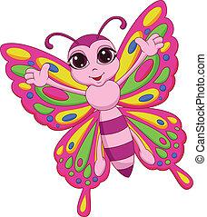 papillon, reizend, karikatur