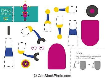 pappe, robotic, modell, klebstoff, vektor, lustiges, zeichen, toy., papier, freisteller, schnitt