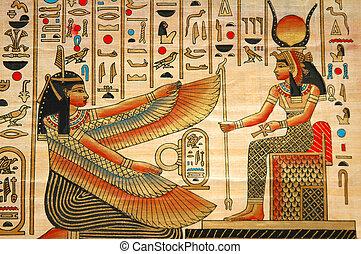 Papyrus mit Elementen egyptischer alter Geschichte