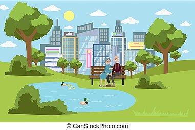Park in der Stadt.