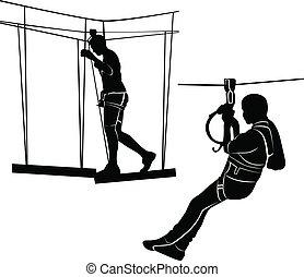 park, ladder., seil, abenteuer, aktiv, sport, wochenende, kinder