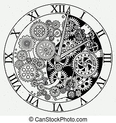 parts., mechanismus, vektor, uhr, cogwheels., illustrationen, uhr