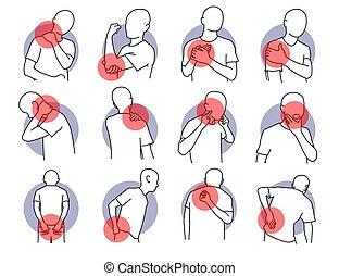 parts., verletzung, schmerz, menschlicher körper