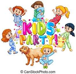 party, glücklich, design, kinder, schriftart, wort