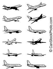 passagier, motorflugzeug, perspektive