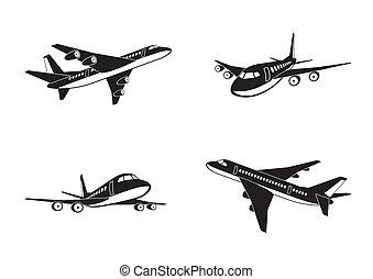 Passagierflugzeuge in Perspektive