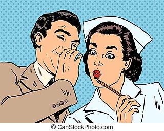 patient, st, gespräch, diagnose, überraschung, klatsch, krankenschwester, mann