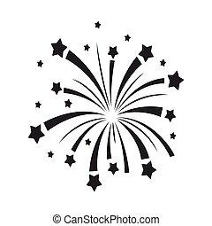 Patriotische Feuerwerkskörper im schwarzen Stil isoliert auf weißem Hintergrund. Patriot Day Symbol Aktienvektoren Illustration.
