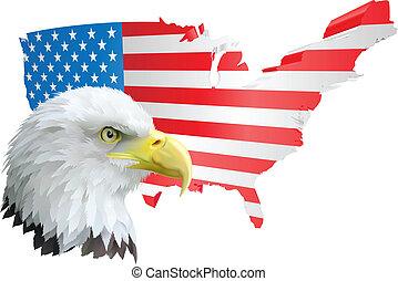 Patriotischer amerikanischer Adler und Flagge