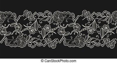 pattern., schwarz, spitze, border., seamless, openwork, geschenkband, hintergrund., weißes, horizontal