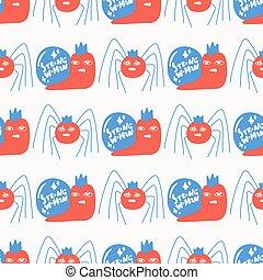 pattern., spinne, reizend, seamless, starke , hintergrund., schnecke, blaues, party, rotes , frau, halloween