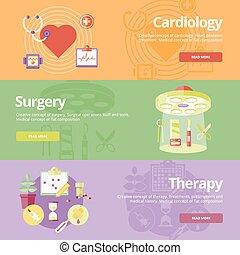 Pauschalkonzepte für Kardiologie, Chirurgie, Therapie. Medizinische Konzepte für Web-Banner und Druckmaterialien.