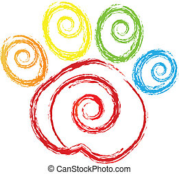 Paw-Druck mit einem kurzen Herz-Logo