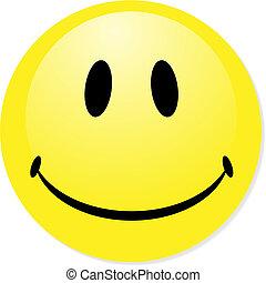 perfekt, badge., smiley, gelber , taste, vektor, ikone, mischung, shadow., emoticon.