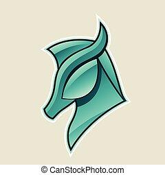 Persische grüne, glänzende Pferdekopf Icon Vektorgrafik.