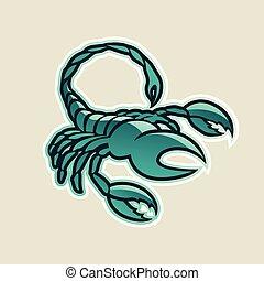 Persische grüne Hochglanz-Skorpion Ikonen-Vektorgrafik.