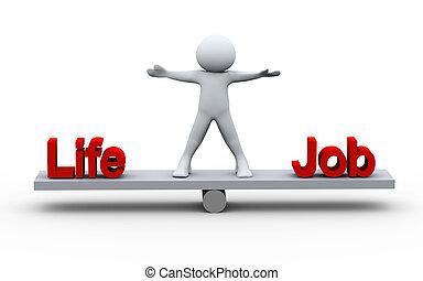 person, leben, ausgleichen, arbeit, 3d