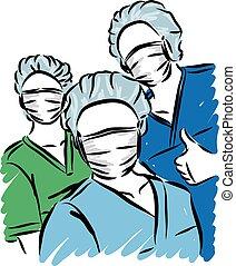 personal, doktoren, abbildung, vektor, medizin