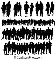 personengruppe, groß, paar, vektor, silhouette