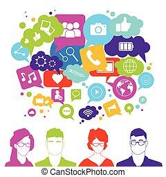 Personengruppen über soziale Medien-Icons auf weißem Hintergrund Netzwerk-Kommunikation Konzept.