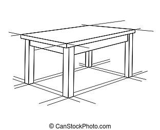 perspective., realistisch, skizze, vektor, tisch