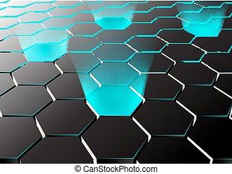 Perspektive hexagonale Hintergrund mit blauen Lichtern.