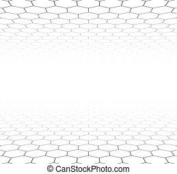 Perspektiver Raster hexagonale Oberfläche.