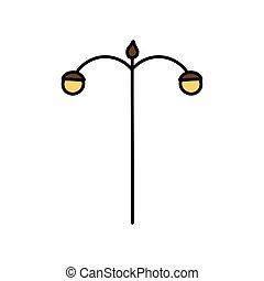 pfahl, lampenikon, straßenlaterne