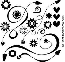 Pfeile, Blumen und Herzen.