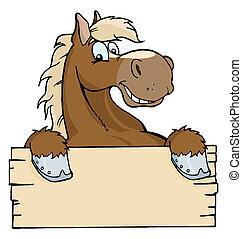 Pferd mit einem leeren Schild.