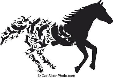 Pferd mit fliegenden Vögeln, Vektor.