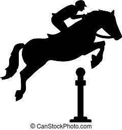Pferde springen über Hindernisse.