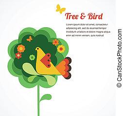 Pflaumenblütenbaum und Vogel.