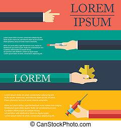 Pharma und Healthcare Icons in flachem Design.