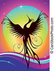 Phoenix-Vogelsilhouette Wiedergeburt
