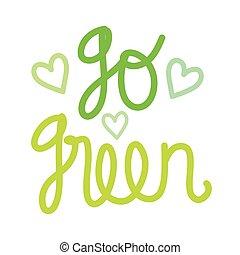 phrase, gehen, grün