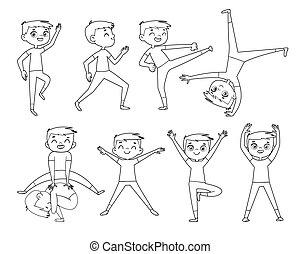 physisch, exercises., grobdarstellung, junge, wenig, zeichnung