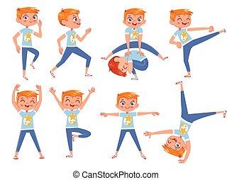 physisch, schnitt, exercises., zeichen, junge, karikatur, wenig, lustiges