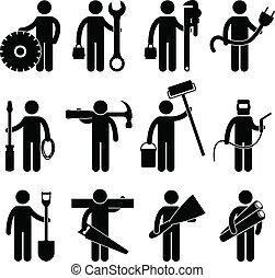 pictog, arbeit, bauhofarbeiter, ikone