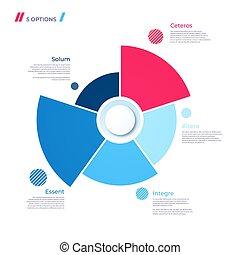 Pie Diagramm Konzept mit 5 Teilen. Vector Template für Web, präsent