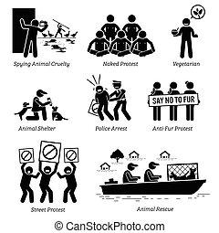 piktogramm, figur, leute, activists, icons., stock, tier, organisation