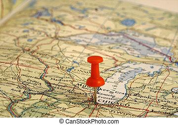Pin auf dem Landkarten-Chicago