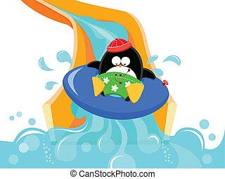 Pinguin auf Wasserrutsche