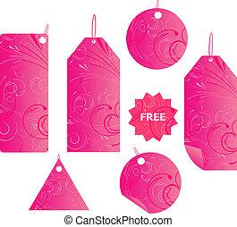 Pinke Blumenstrauß-Label