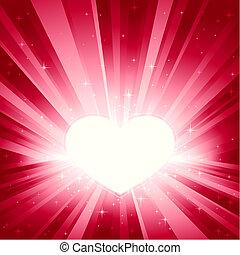 Pinkes Licht brach mit Herz
