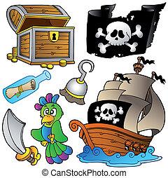 Piratensammlung mit Holzschiff