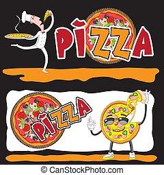 pizza., hand., character., küchenchef, vektor, schablone, koch, lächeln, italienesche, karikatur, pizza