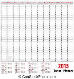 planer, terminplan, jährlich, -, 2015, tisch