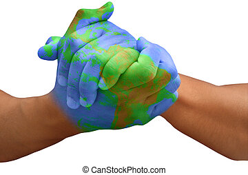 Planet Erde bemalte Hände